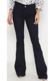 Jeans Flare Low Com Zíper- Azul Escuro- Ennaenna