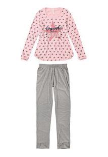 Pijama Longo Corações Malwee Liberta (1000052502) Algodão
