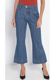 Jeans Flare Cropped Super High- Azul- Lança Perfumelança Perfume