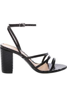 Sandália Salto Bloco Strings Snake Black | Schutz
