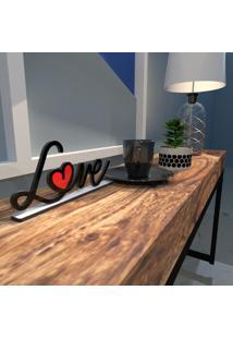Escultura De Mesa Preto Love Drawing Com Coração Em Acrílico Vermelho Único