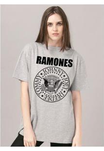 T-Shirt Bandup Ramones Logo Mescla - Feminino-Mescla