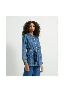 Jaqueta Alongada Jeans Com Cinto Faixa E Bolsos
