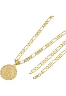 Pingente São Rafael Tudo Joias Com Corrente 6Mm Folheada A Ouro 18K - Unissex-Dourado