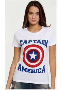 Blusa Feminina Estampa Capitão América Manga Curta Marvel