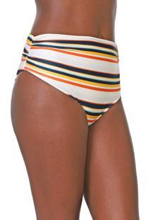 Calcinha Acqua By Classic Hot Pant Listrada Off-White/Laranja - Kanui
