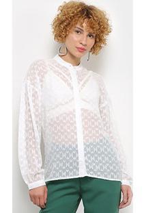 Camisa Colcci Transparência Feminina - Feminino-Off White