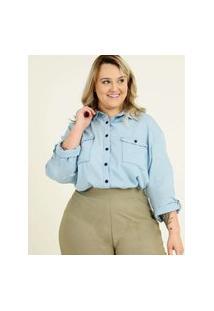 Camisa Plus Size Feminina Jeans Manga Longa Razon
