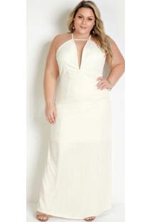 Vestido Longo Off White Frente Única Plus Size
