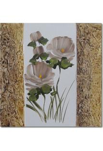 Quadro Artesanal Com Textura Rosa Marrom 30X30 Uniart