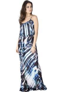 Vestido Longo Estampado Calvin Klein - Feminino-Azul