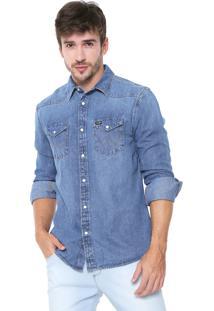 Camisa Jeans Wrangler Reta Pespontos Azul