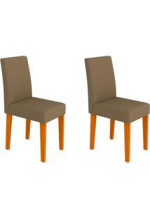 Conjunto Com 2 Cadeiras Giovana Ipê E Marrom Médio