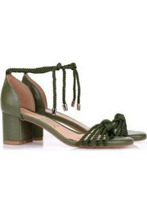 Sandália Uza Shoes Salto Médio Amarração Feminina - Feminino-Verde Escuro