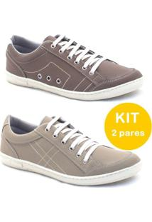 Kit Sapatênis Dexshoes Casual - Masculino-Bege+Marrom