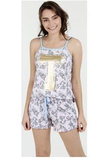 Pijama Feminino Estampa Bambi Alças Finas Disney