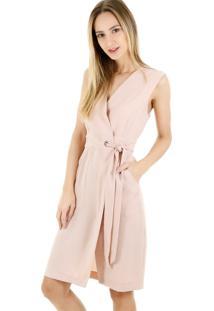 Vestido Curto Liso Com Amarração Rosa-Preto - Kanui