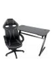 Conjunto Mesa Gamer Pelegrin Pel-002P Preta E Cadeira Gamer Pelegrin Pel-3017 Cinza