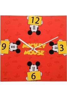 Relógio De Parede Decorativo - Disney - Mickey Mouse - Vermelho - Mabruk
