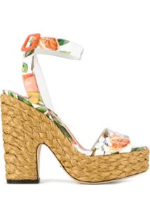 Dolce & Gabbana Sandália Plataforma De Couro Envernizado - Branco