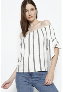 Blusa Ciganinha Listrada - Off White & Azul Marinhoendless
