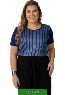 Blusa Feminina Plus Size Azul