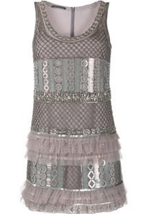 Alberta Ferretti Ruffled Metal-Embellished Dress - Cinza