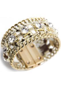 Bracelete Pravage Tpu Dourado Com Pedras