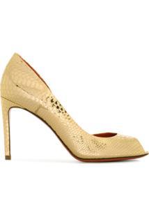 Santoni Sandália Peep Toe - Dourado