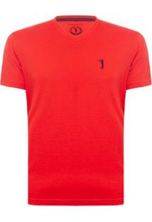 Camiseta Gola V Básica Aleatory Masculina - Masculino-Vermelho