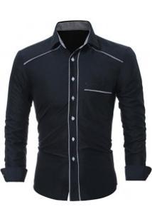 Camisa Social Masculina Slim Fit Com Detalhe Estampado Manga Longa - Preto