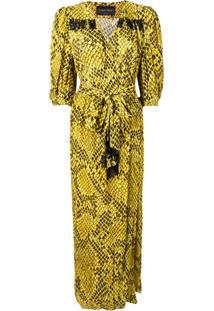 Christian Pellizzari Vestido Envelope Com Padronagem - Amarelo