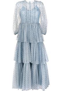 Redvalentino Vestido Com Babado De Paetês E Amarração - Azul