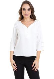 Blusa Kinara Manga ¾ Lacinhos - Feminino-Branco