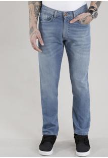 Calça Jeans Reta Com Algodão + Sustentável Azul Médio