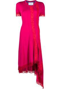 Koché Vestido Assimétrico Com Aplicação De Renda - Rosa