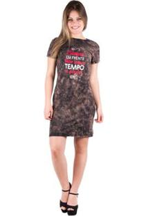 Camiseta Banna Hanna Dress Tingido Feminina - Feminino-Marrom