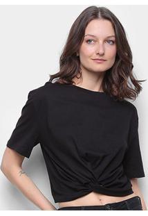 Camiseta Colcci Detalhe Transpassado Feminina - Feminino-Preto
