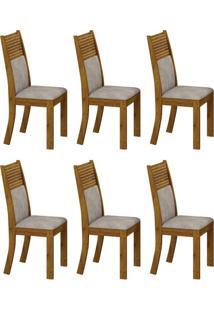 Conjunto Com 6 Cadeiras Havaí Canela E Pena Palha