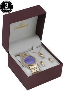 Kit 3Pçs Relógio Champion Cn26083B Dourado