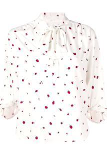 Chinti & Parker Blusa Estampada Com Laço - Branco