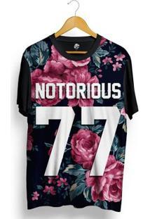 Camiseta Bsc Notorious 77 Vintage Purple Flowers Full Print - Masculino-Preto