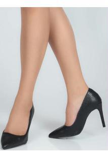 Sapato Scarpin Feno Lizard Preto