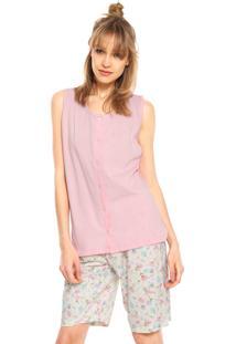 Pijama Pzama Floral Rosa/Bege