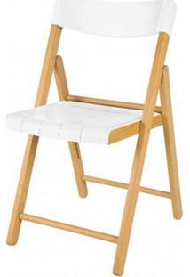 Cadeira Potenza Dobravel Natural Com Plastico Branco - 20566