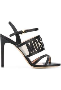 Moschino Sandália Com Logo Gravado - Preto
