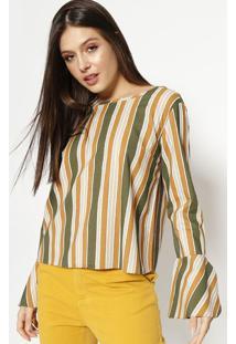 Blusa Com Amarraã§Ã£O - Verde Escuro & Marrom Claro- Mmoisele