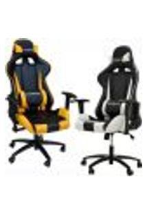 Kit 02 Cadeiras Gamer Giratória Reclinável Com Regulagem De Altura Pro-V Sport Pu Preto/Amarelo E Branco - Gran Belo