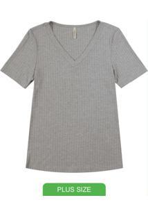 Blusa Canelada Básica Com Decote V Cinza