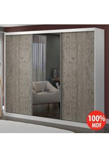 Guarda Roupa 3 Portas Com 1 Espelho 100% Mdf 1905E1 Branco/Demolição - Foscarini